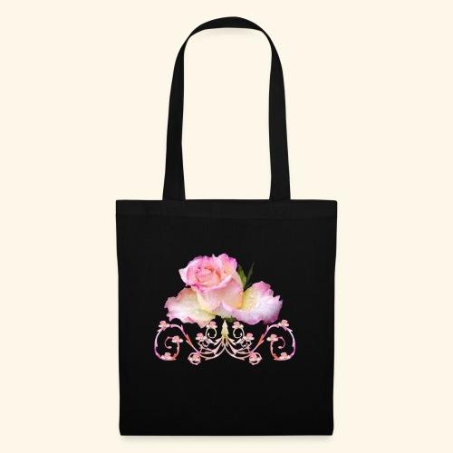 Rose pink, Ornament, Rosen, Blumen, Blüten, floral - Stoffbeutel