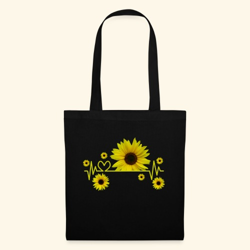 Sonnenblumen, Sonnenblume, Herzschlag, Herz, Blume - Stoffbeutel