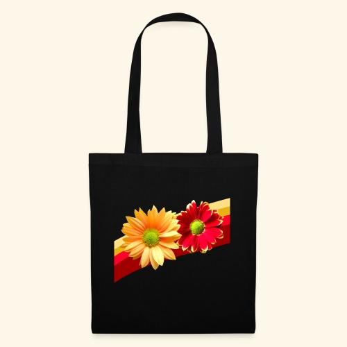 Blumen in den Farben rot und gelb, Blüten, floral - Stoffbeutel