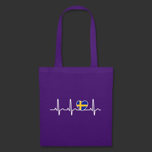 EKG hjärta Sverigeflagga - Tygväska