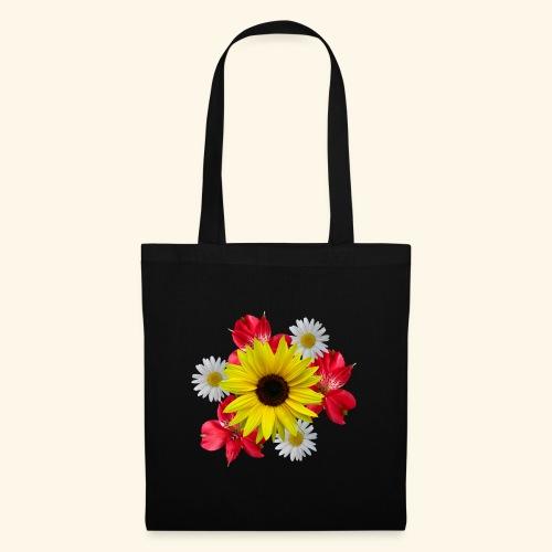 Blumenstrauß, Sonnenblume, Margeriten, rote Blumen - Stoffbeutel