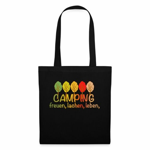 Camping, freuen, lachen, leben - deutsch - Stoffbeutel