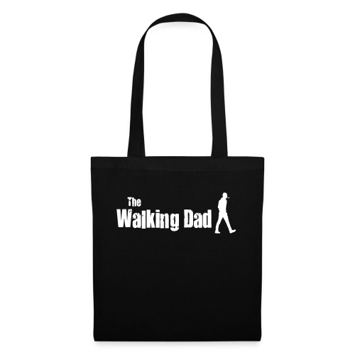 the walking dad white text on black - Tote Bag