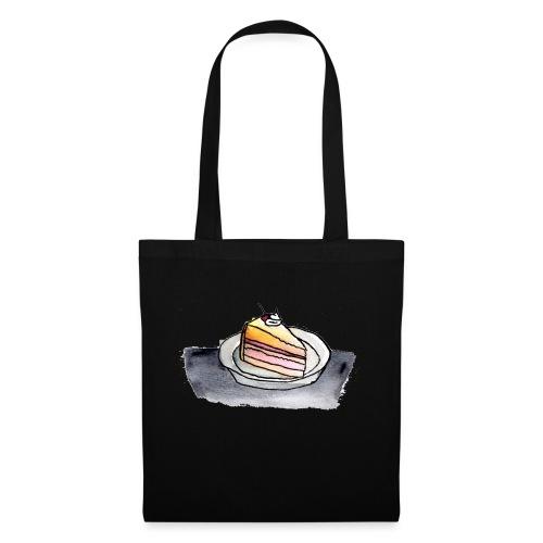 Kuchenstück, Aquarell - Stoffbeutel