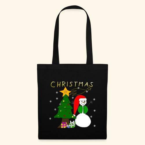 Christmas, Weihnachten, Schneemann, Weihnachtsbaum - Stoffbeutel