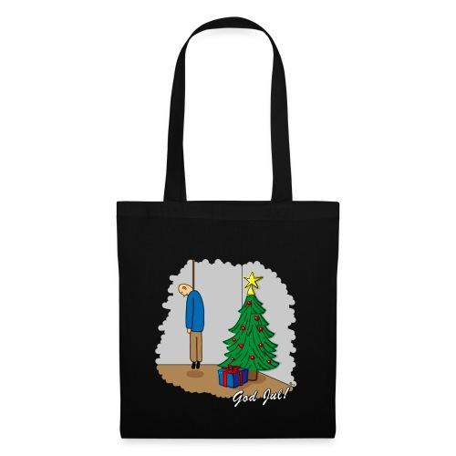 Cyniskt julmotiv - Ensam på julafton - Vit - Tygväska