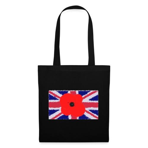 Poppy flower over Union Jack Flag - Bolsa de tela