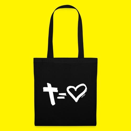 Cross = Heart WHITE // Cross = Love WHITE - Tote Bag