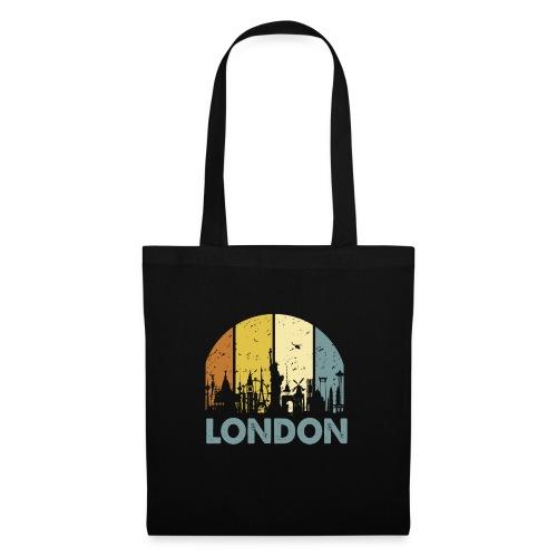 Vintage London Souvenir - Retro Skyline London - Stoffbeutel