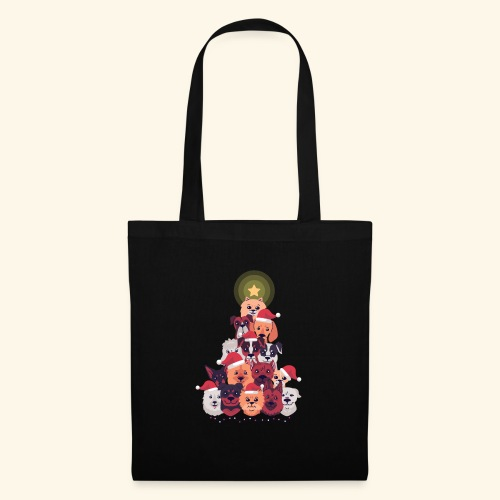 Arbre de Noel avec Adorables Chiens - Tote Bag