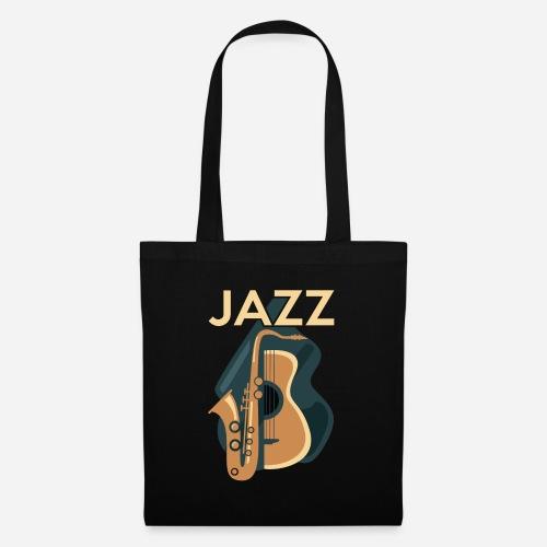 Jazz Gitarre mit Saxophon - Stoffbeutel