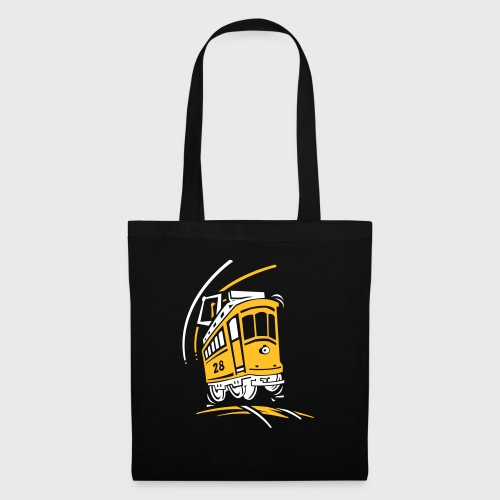 Tramway 28 cartoon Lisbonne - Tote Bag