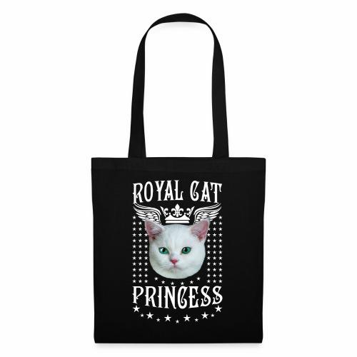 26 Royal Cat Princess white feine weiße Katze - Stoffbeutel