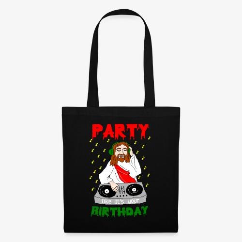 dj jesus birthday party ugly christmas - Stoffbeutel