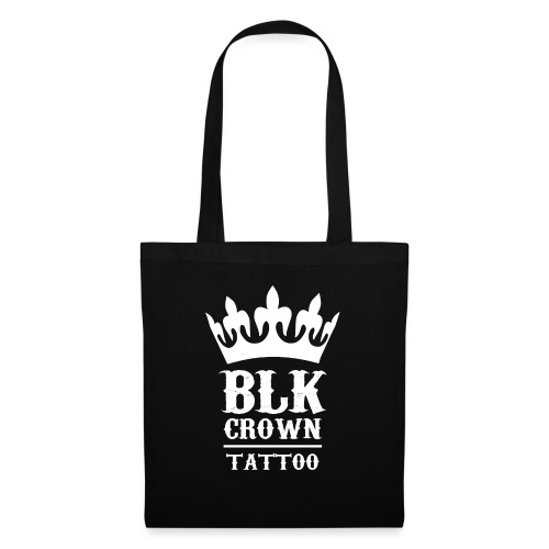 Black Crown Tattoo Studio Logo Weiss - Stoffbeutel