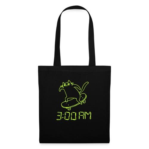 3 AM Cat lime - Stoffbeutel