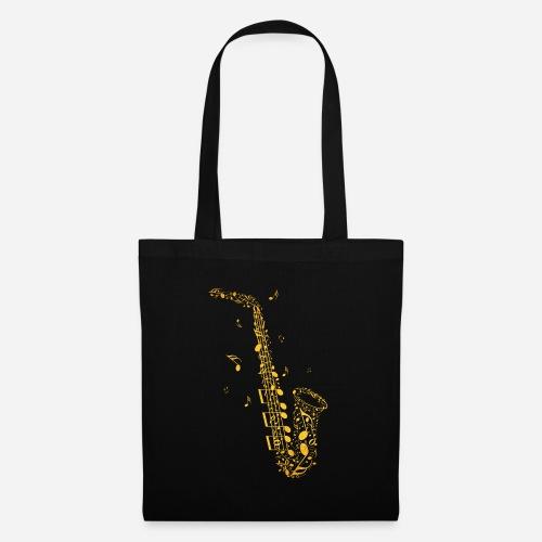 Goldenes Saxophon aus Musiknoten - Stoffbeutel