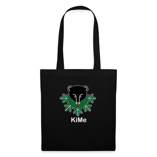 KiMe-logotuotteet valkoisella tekstilla - Kangaskassi
