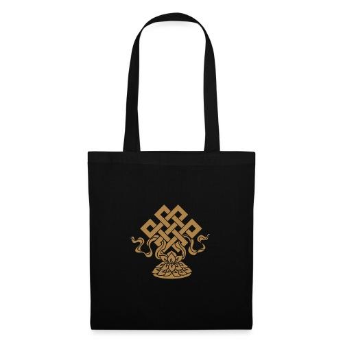 Endlosknoten, Buddhistisches Glückssymbol, Lotus - Stoffbeutel
