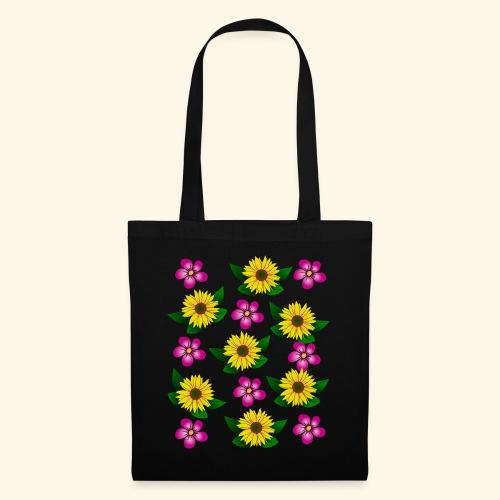 Sonnenblumen, pinke Blumen, floral, Blüten, pink - Stoffbeutel