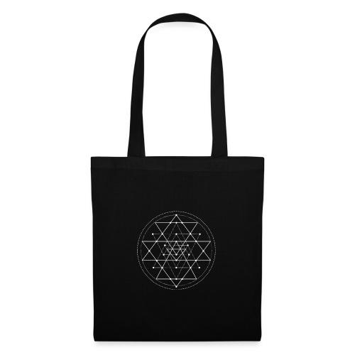 Valkoinen geometrinen Shri Yantra -kuvio - Kangaskassi