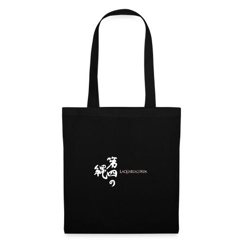 Calligraphy and logo La quarta corda (white) - Borsa di stoffa