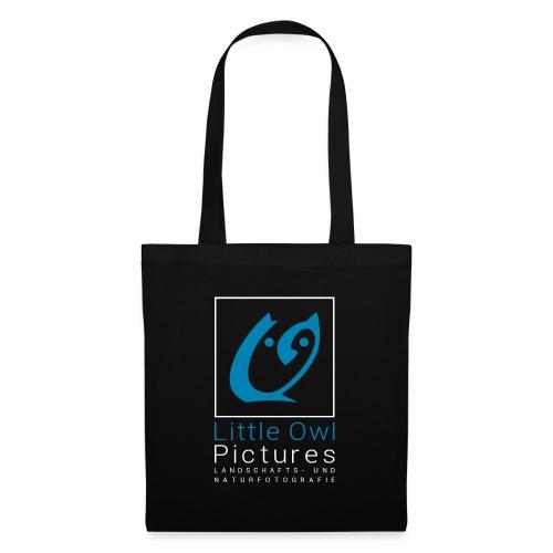 Little Owl Pictures Logo (weiß/blau) - Stoffbeutel