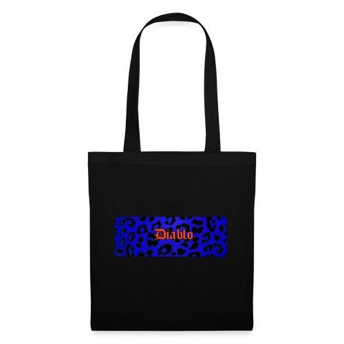 Diablo gotic lettering pattern blue leopard - Bolsa de tela