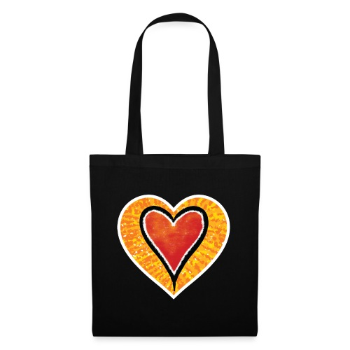 Red heart under Fire - Tote Bag