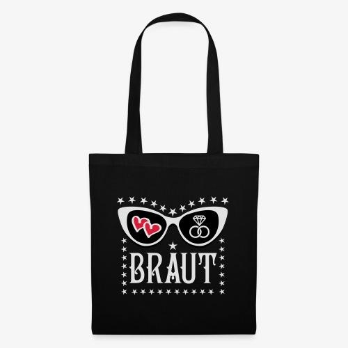107 JGA Braut Herzen Diamant Ring Brille Glamour - Stoffbeutel