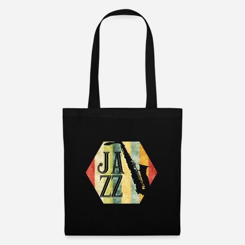 Jazz Retro Sechseck mit Saxophon - Stoffbeutel