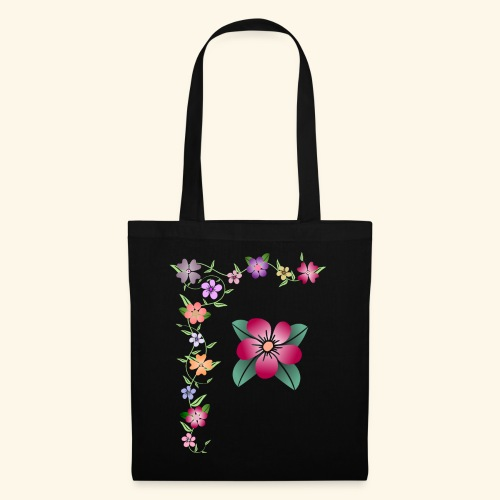 Blumenranke, Blumen, Blüten, floral, blumig, bunt - Stoffbeutel