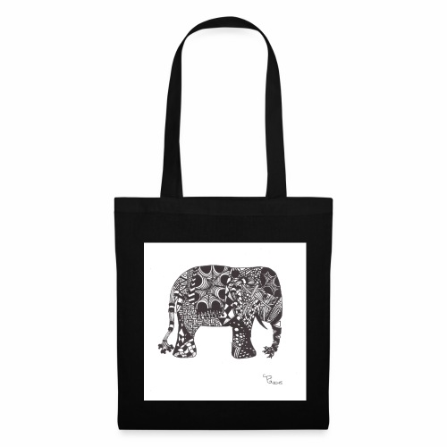 tangle-elephant print - Stoffbeutel