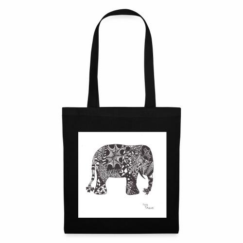 tangle-elephant print - Stoffbeutel