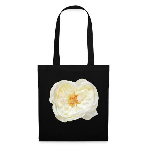 Weiße Rose (aus Stoff) - Stoffbeutel