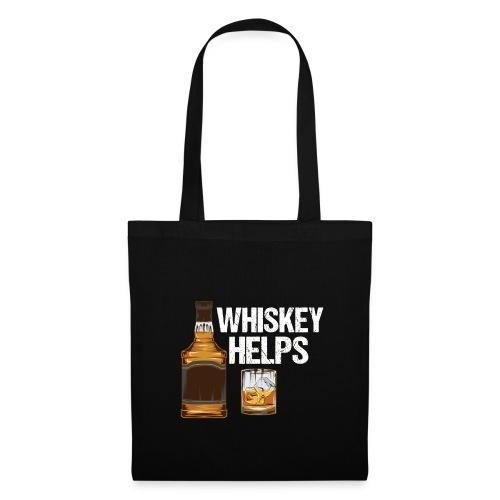 Whiskey helps - Alkohol - Stoffbeutel
