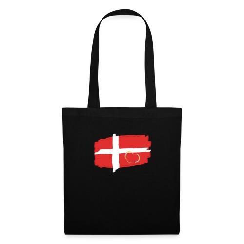 Dänemark Fahne mit Herz Flagge Land Nation - Stoffbeutel