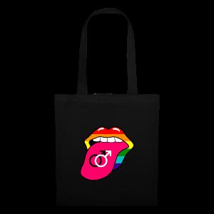 Gay pride regenboog mond en tong met homo symbool - Tas van stof