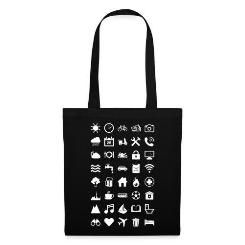 Travel Icons (white) - Stoffbeutel