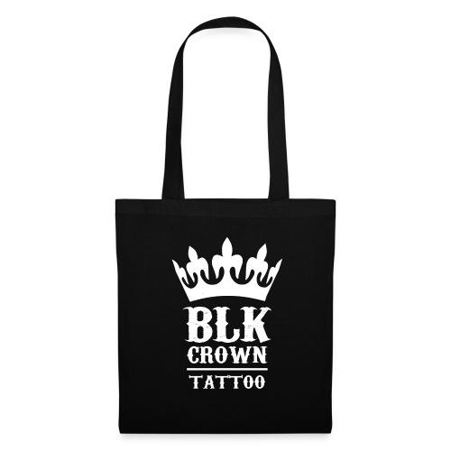 Black Crown Tattoo Studio Logo Weiss - Stoffbeutel