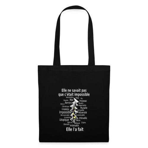 Impossible et fait Femme brèche Fond Sombre - Tote Bag