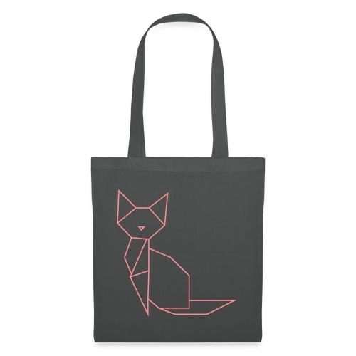 Origami Cat pink - Stoffbeutel