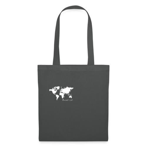Weltkarte als Bucket List / Wanderlust - Stoffbeutel