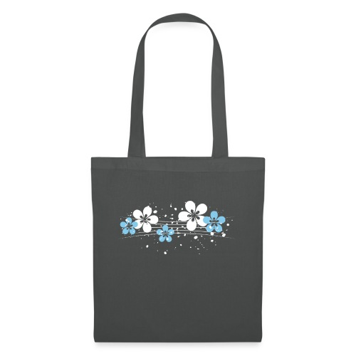 white and blue floral print - Torba materiałowa