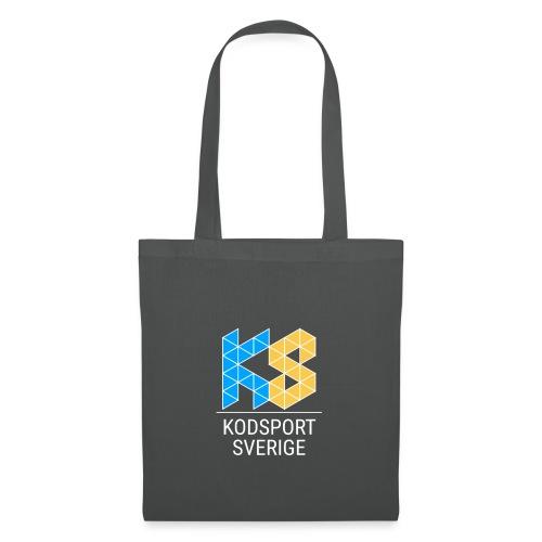 Kodsport kvadratisk logotyp - vit text - Tygväska