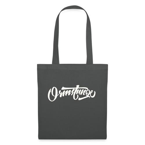Ormstunge logo hvit - Stoffveske
