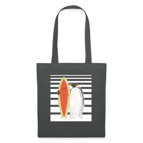 Pinguin mit Surfboard (Streifen) - Stoffbeutel