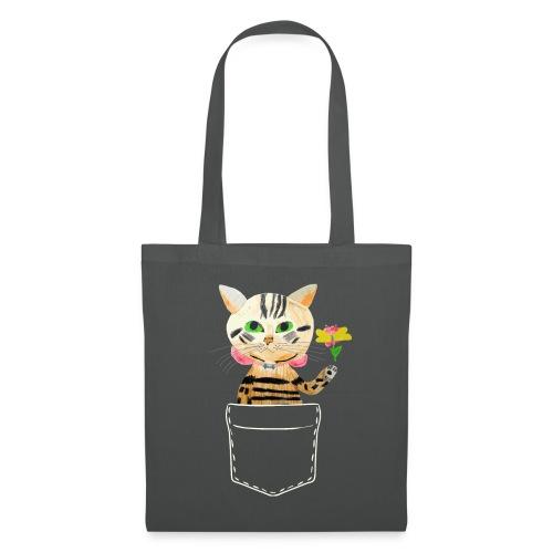 Katze bringt Blume als Geschenk und Glückwünsche - Stoffbeutel
