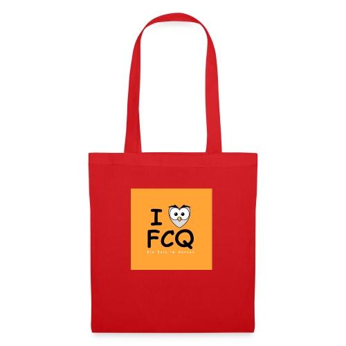 I Love FCQ button orange - Stoffbeutel