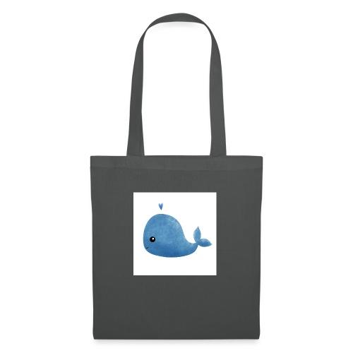 Whale, poster acquerello di una piccola balena blu - Borsa di stoffa